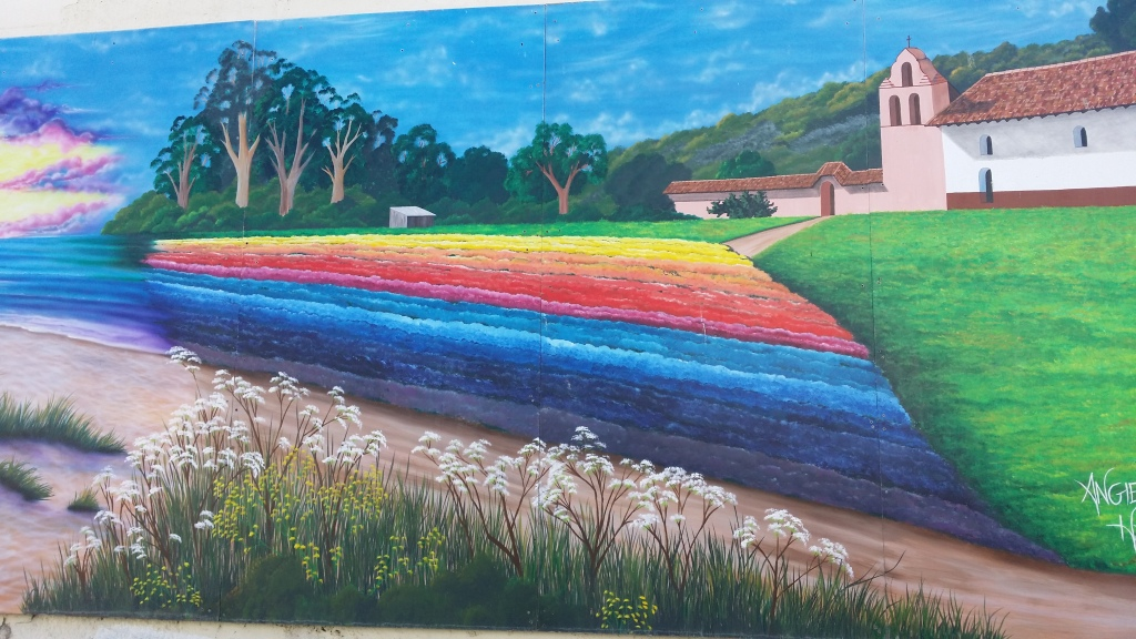 I couldn't find a name for this one, but it appears to depict the flower fields of Lompoc.